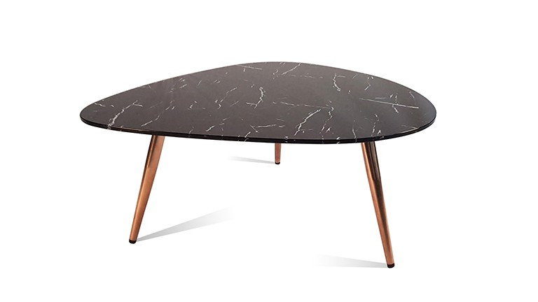 table basse gigogne au design scandinave effet marbre noir et d 39 acier bross mobilier moss. Black Bedroom Furniture Sets. Home Design Ideas