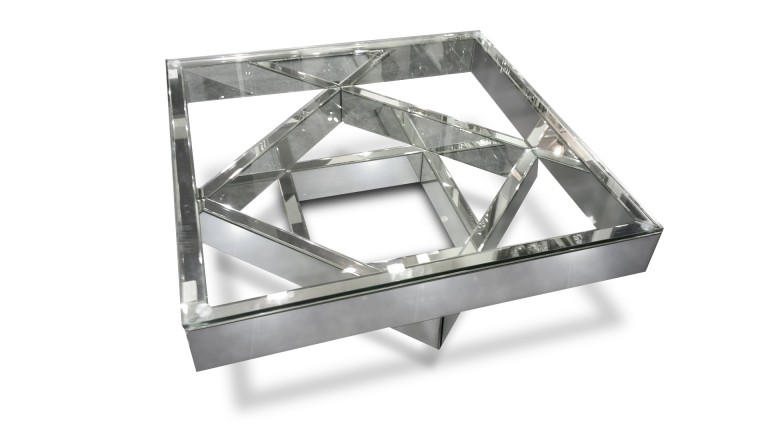 Table basse fizuli fa ades miroir et verre transparent for Table basse miroir