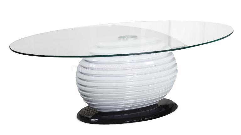 table basse oval plateau verre socle blanc mobilier moss