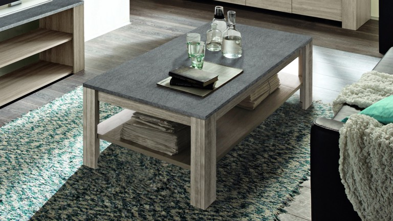 table basse eblano bois clair avec plateau imitation ardoise mobilier moss. Black Bedroom Furniture Sets. Home Design Ideas