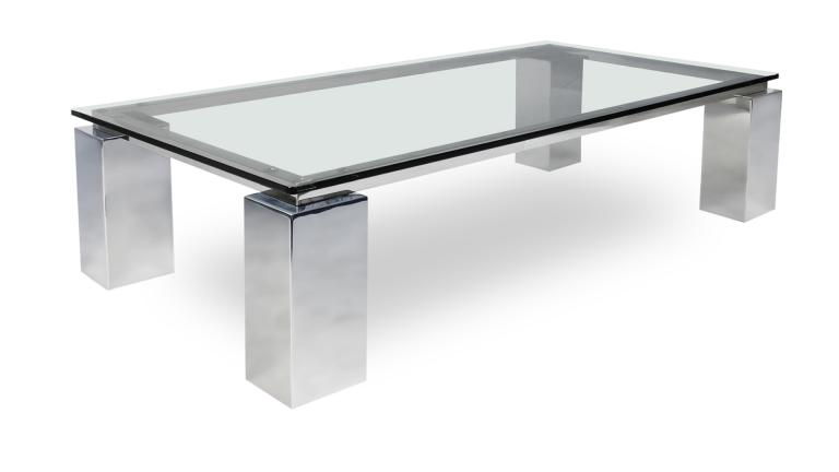 Table basse de salon en verre transparent glassy mobilier moss - Table basse pied inox ...