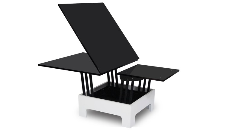 Table rallonges hauteur modulable zebra mobilier moss for Table de salon escamotable