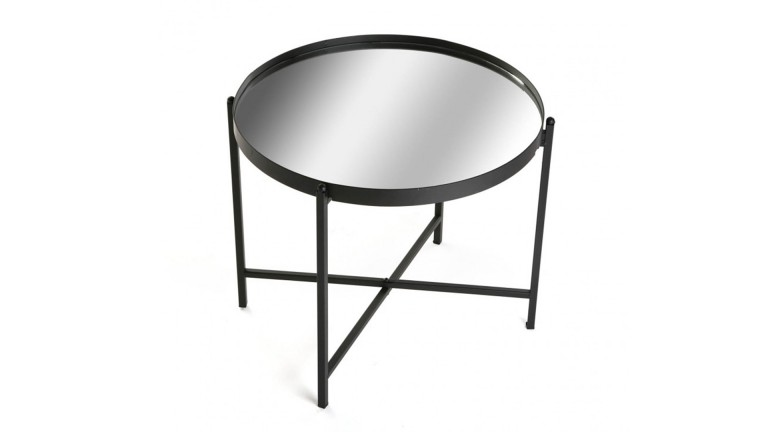 Table basse ronde ystaad m tal et verre mobilier moss - Table basse metal ronde ...