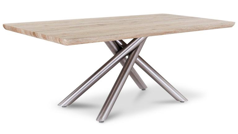 Table contemporaine pied acier - Table plateau bois pied metal ...