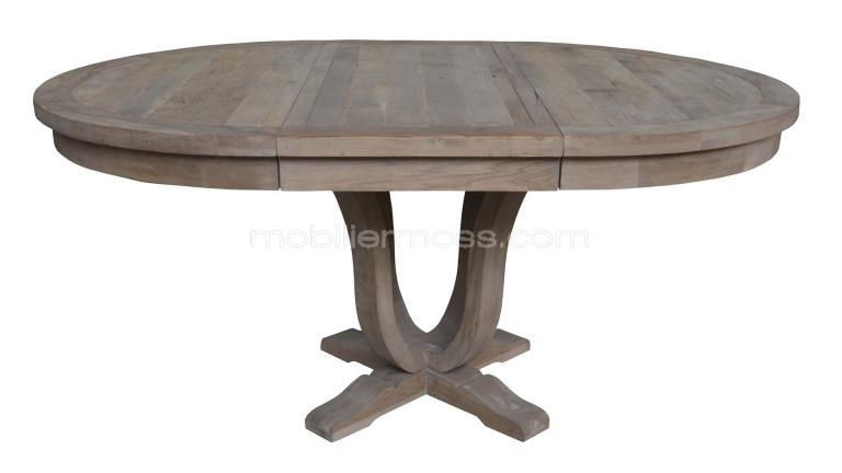 Table ronde extensible de salon en bois helise - Table massif rallonge ...