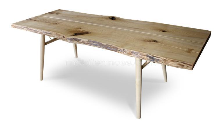 Table de salle manger en bois brut massif steppe for Table salon bois brut