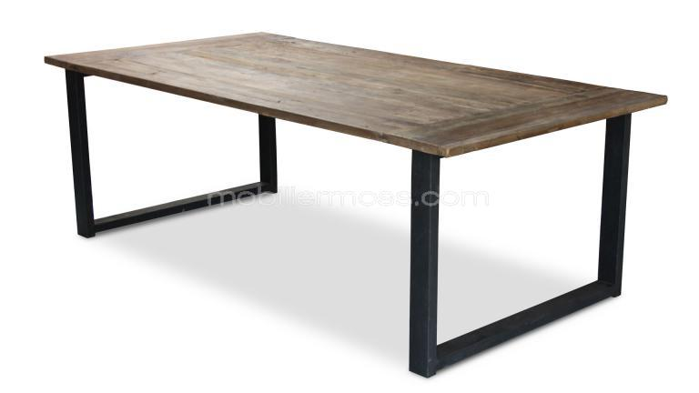 Table industrielle rectangulaire r tro au design vintage for Table salle a manger bois metal