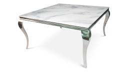 table carree marbre blanc style baroque pieds chromes betty mobiliermoss