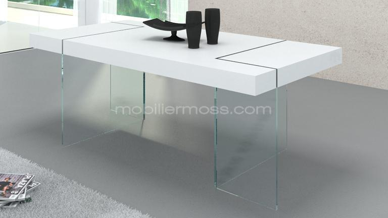 table crystalline gamme collection blanche mat laque pied verre