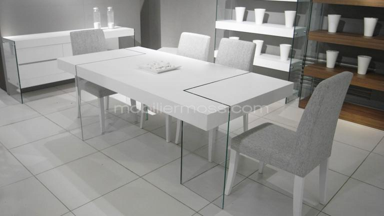 table salle manger blanc laqu. Black Bedroom Furniture Sets. Home Design Ideas