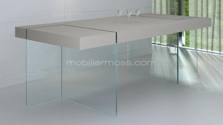 table crystalline gamme collection taupe mat laque pied verre
