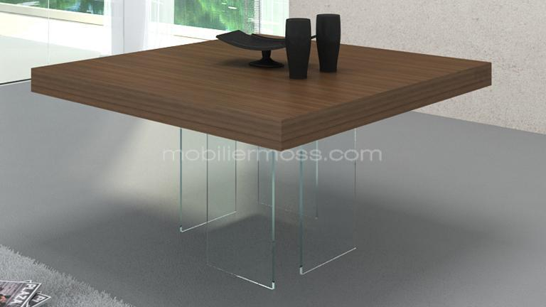 Table salle manger carree avec pied central for Table salle manger noyer design
