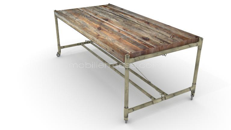 Table rectangulaire de type industrielle en bois et m tal for Fabrication d une table de salle a manger