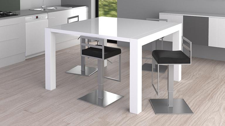 Table haute de salle manger extensible kalis for Table bar blanche