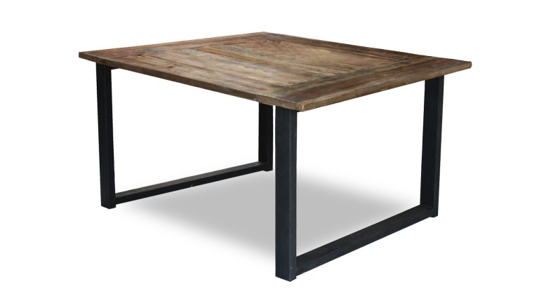 Table Plateau Bois Pied Metal - Table carrée industrielle rétro au design vintage Noldy Mobilier Moss