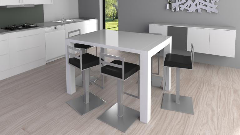 Table haute laqu e design et extensible flexy mobilier for Table de salle a manger laque blanc avec rallonge