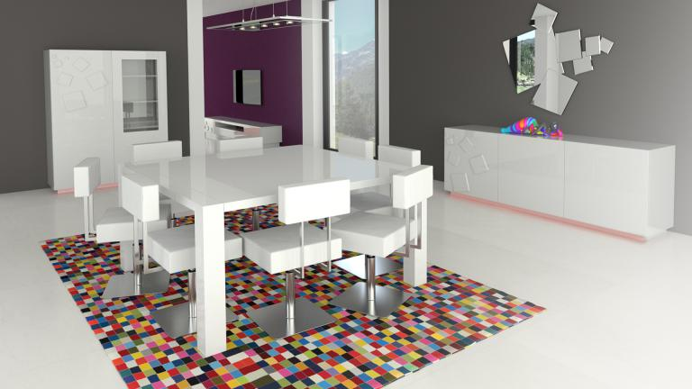 Table carr e design 140x140 cm avec rallonges veliki for Plan d une table de salle a manger