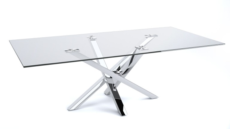 Table à manger plateau verre pied inox design contemporain argo mobiliermoss