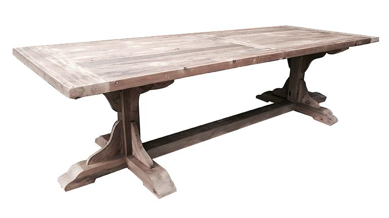 Table monast re bois massif recycl 270x100 hatvan for Pietement de table design