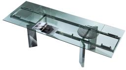 table palomas verre rallonge pied acier chrome design moderne