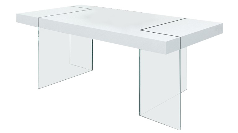 table pied verre crystalline blanche mat