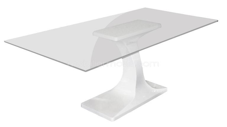 Table verre blanc laque - Table a manger verre blanc ...
