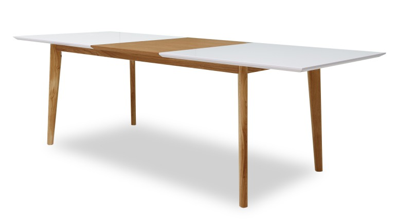 Table diner svartan avec plateau blanc mat et rallonge for Table scandinave ronde rallonge