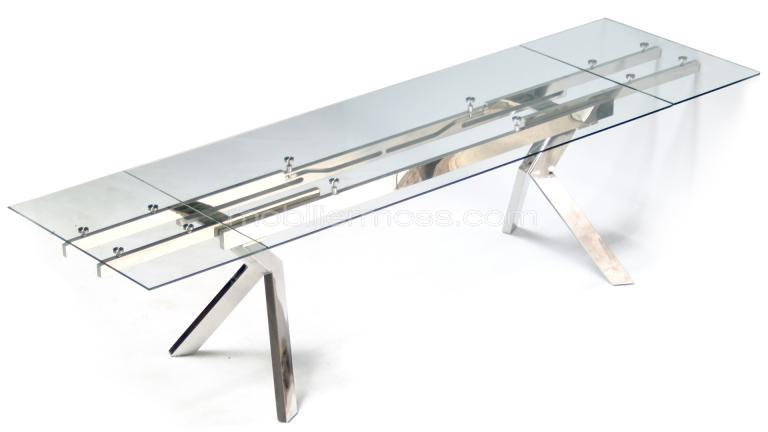table verre pied metal