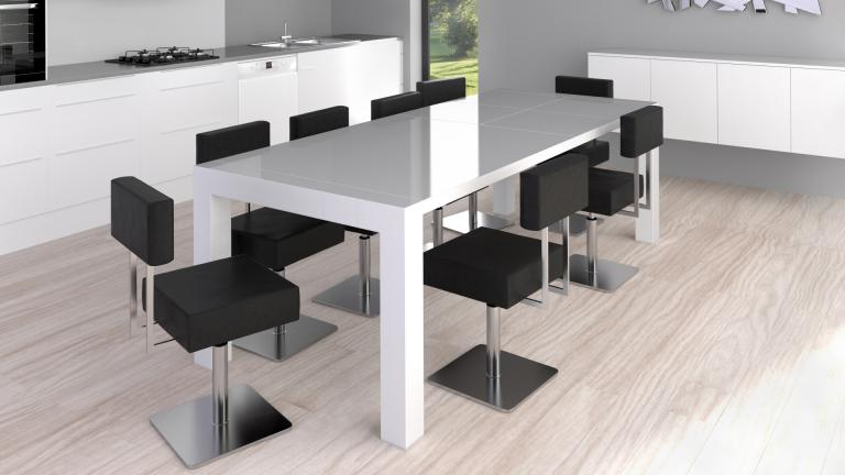 table rectangulaire laquee 2rallonges blanc reflection mobiliermoss - Salle A Manger Grande Table