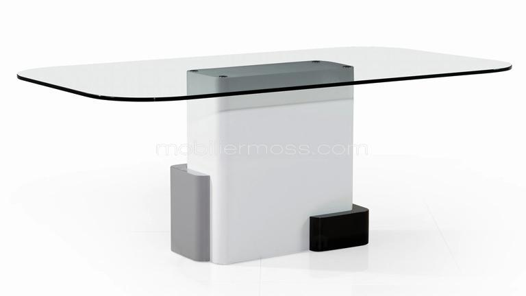 table rectangulaire plateau verre cubik laque design - Table Plateau En Verre