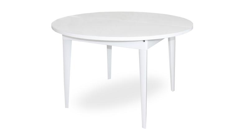 Table manger laqu e rallonge 120 160 cm kopervik for Table ronde bois blanc avec rallonge