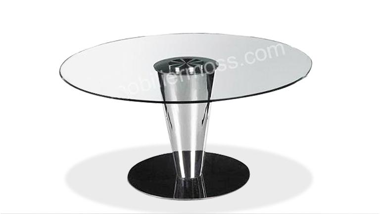Table Ronde Verre Nola Pied Rond Evase Mobilier Moss Salle A Manger ...