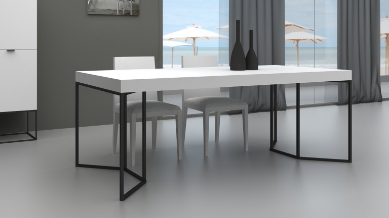 table de salle manger kufstein avec pieds m tal longueur. Black Bedroom Furniture Sets. Home Design Ideas