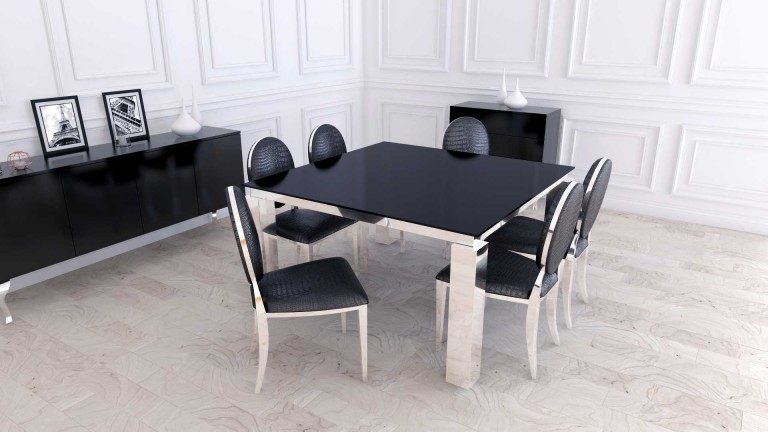 table diner 140x140 cm arklow avec plateau verre et. Black Bedroom Furniture Sets. Home Design Ideas
