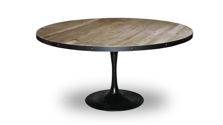 Table de salle manger ronde cogolin en m tal et bois de for Table basse ronde industrielle