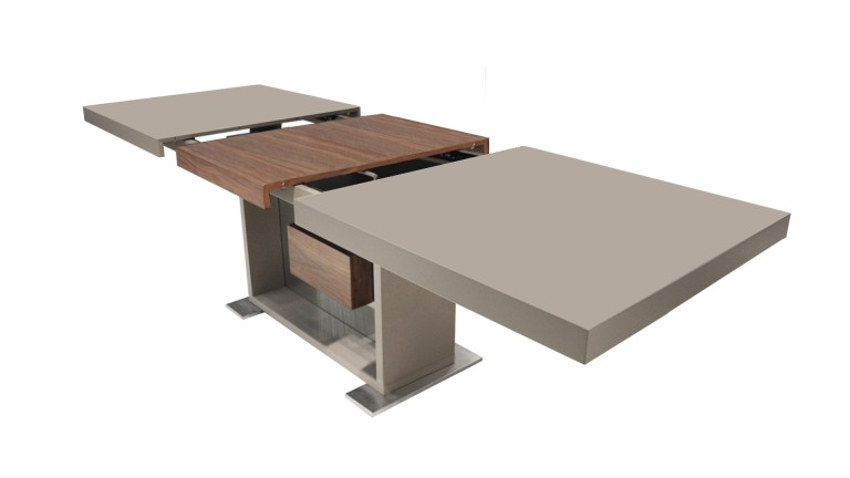 Table moderne avec rallonges friendly taupe mat mobilier for Grande table de salle a manger avec rallonge