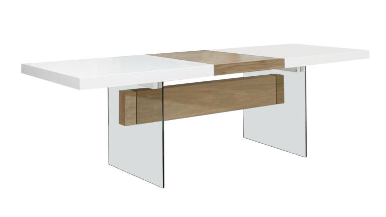 Table moderne avec rallonges friendly blanc mat mobilier for Table salle a manger verre et bois
