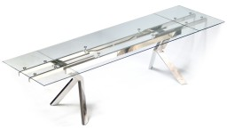 table salle a manger plateau verre transparent et rallonge mobiliermoss metallia