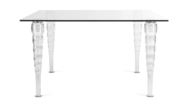 Table A Diner Rectangulaire Style Baroque Transparente 160x90 Henry