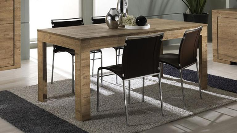 table de salle mange ren bois avec rallonge emiliano mobilier moss. Black Bedroom Furniture Sets. Home Design Ideas