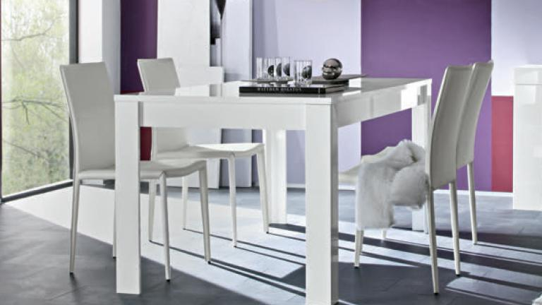 table de salle manger laqu blanc rectangulaire 160 cm. Black Bedroom Furniture Sets. Home Design Ideas