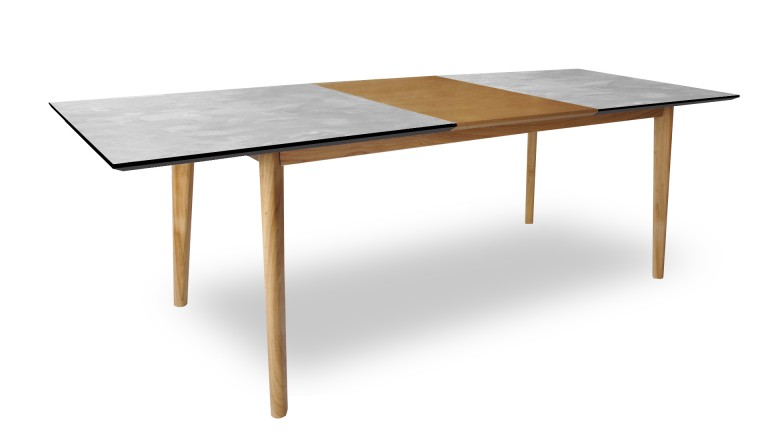 Mesa de comedor efecto hormig n con largueros de madera for Table extensible design scandinave