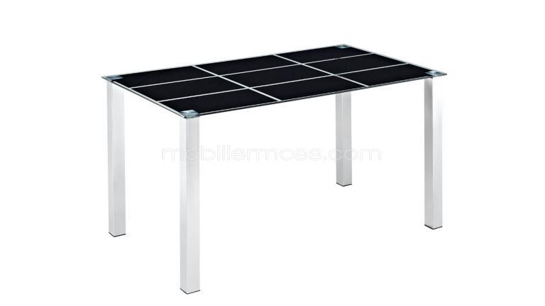 table verre pied chrome serigraphie noir mobiliermoss design
