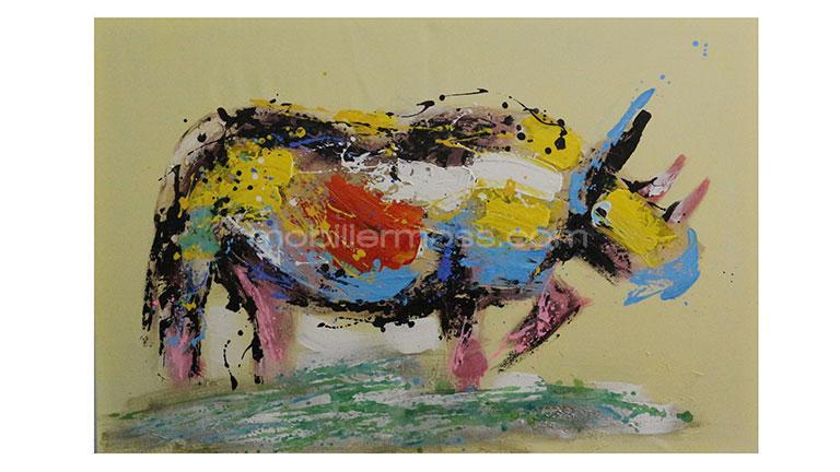 tableau rhinoceros colore mobiliermoss
