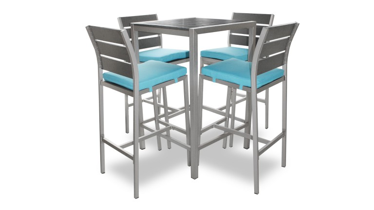 Table haute dazzio en alu bross inoxydable avec 4 chaises for Table exterieur 70x70