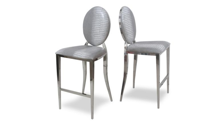 tabouret assise gris croco pieds chrome palmyr mobiliermoss