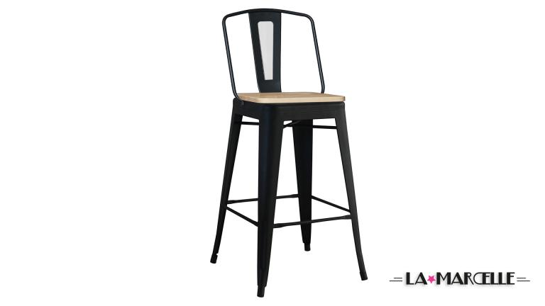 tabouret bar metal industriel 75cm noir lamarcelle mobiliermoss