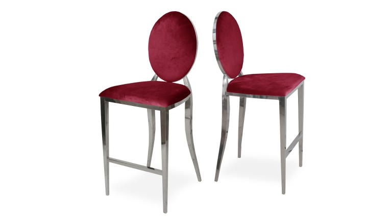 Tabouret baroque velours rouge palmyr mobiliermoss