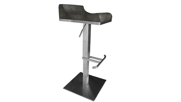 tabouret reglable inox brosse simili cuir retrogris dallas mobiliermoss