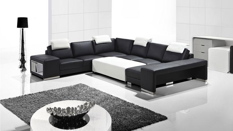 vente canape cuir design noir blanc genicy collection mobiliermoss